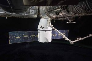 The SpaceX Dragon resupply ship seen in a photograph taken in space on April 5, 2018.