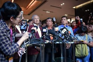 Former Prime Minister Mahathir Mohamad addresses the media at the Sheraton Hotel in Petaling Jaya for the results on Polling Day, on May 9, 2018.