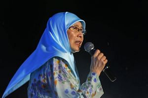 Parti Keadlian Rakyat president Wan Azizah Wan Ismail at a campaign rally in Kuala Lumpur, Malaysia on May 6, 2018.