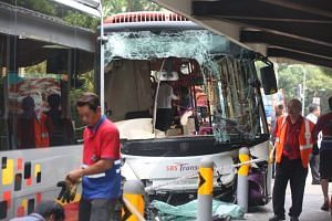 The front windscreen of the SBS Transit bus involved in the accident was smashed and a large part of its front bumper had also fallen off.