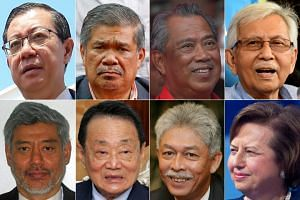 (Clockwise from top left) Malaysia's new Finance Minister Lim Guan Eng, Defence Minister Mohamad Sabu and Home Minister Muhyiddin Massin. In the Council of the Elders are: Tun Daim Zainuddin, Tan Sri Zeti Akhtar Aziz, Tan Sri Hassan Marican, Tan Sri