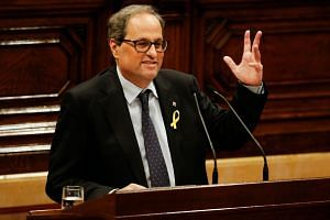 Catalan presidential candidate Quim Torra delivering a speech during a session at the Catalan parliament in Barcelona on May 12, 2018.