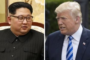The summit between United States President Donald Trump (right) and North Korean leader Kim Jong Un in Singapore next month will be the first in history between the sitting leaders of the US and North Korea.