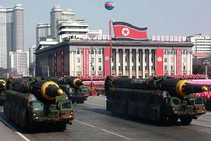 Intercontinental ballistic missiles on display during a military parade to mark the 70th anniversary of the Korean People's Army at Kim Il Sung Square in Pyongyang on Feb 8, 2018.