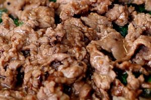 File photo showing cooked beef in a plate of noodles and gravy.
