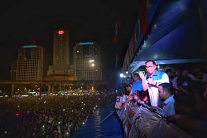Supporters of Anwar Ibrahim at Padang Timur where opposition leader Anwar Ibrahim spoke at a political rally for the first time in three years on May 16, 2018.