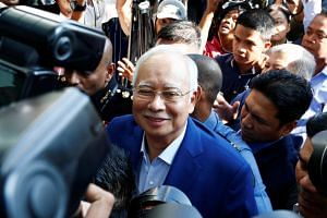 Datuk Seri Najib Razak arrives to give a statement to the Malaysian Anti-Corruption Commission (MACC) in Putrajaya, Malaysia on May 22, 2018.