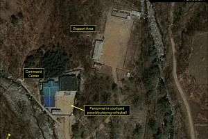 A commercial satellite imagery of the Punggye-ri Nuclear Test Facility, which 38 North says indicates an apparent resumption of activity in North Korea, is seen in this image from April 25, released on May 3, 2017.