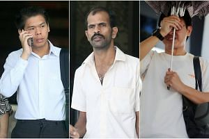 (From left) Ho Jun Wei, Sathappan Anbarasan and Chew Hup Seng were charged on May 24, 2018.
