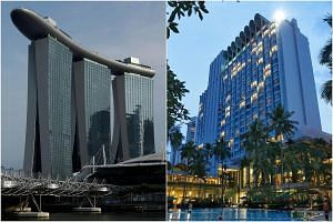 Marina Bay Sands (left) and Shangri-La Hotel are seen as the likeliest locations for the summit, travel agents told The Straits Times.