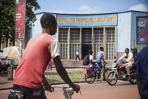 The health inspection centre in front of a busy street in Mbandaka, where the launch of an experimental Ebola vaccine started, in north-western Democratic Republic of the Congo, on May 21, 2018.