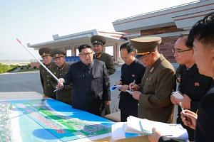 North Korean leader Kim Jong Un inspecting the construction site of the Wonsan-Kalma coastal tourist area in Wonsan, North Korea, on May 26, 2018.