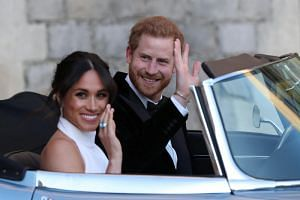 The Duke and Duchess of Sussex, Prince Harry and Meghan Markle, leaving Windsor Castle on May 19, 2018.