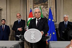 Italy's President Sergio Mattarella addressing journalists after prime ministerial candidate Giuseppe Conte gave up his mandate to form a government. Mr Mattarella has rejected the nomination of Mr Paolo Savona, known for his opposition to Italy's me