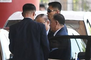 North Korean General Kim Yong Chol (extreme right) arrives at Beijing's international airport for a flight departing for New York, in Beijing, China, on May 30, 2018.