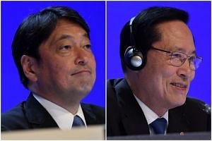 Japan's Defence Minister Itsunori Onodera (left) said North Korea must not be rewarded for agreeing to dialogue, while his South Korean counterpart Song Young Moo said dialogue will never make progress if the focus was on disagreement.