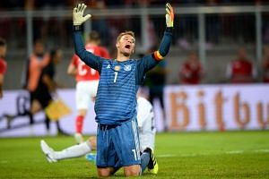 Germany's goalkeeper Manuel Neuer reacts after conceding the second Austrian goal during the international friendly football match against Austria in Klagenfurt, Austria, on June 2, 2018.