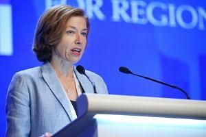 French Defence Minister Florence Parly speaking at the fifth plenary session at the Shangri-La Dialogue, on June 3, 2018.