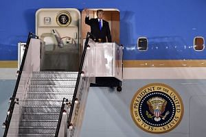 US President Donald Trump arrived in Singapore on June 10, 2018, ahead of his summit meeting with North Korean leader Kim Jong Un on June 12. His Air Force One landed at Paya Lebar Airbase after 8.20pm.