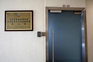 The North Korean embassy in Singapore. Two KBS reporters arrested for trespassing on the residence of the North Korean ambassador to Singapore were repatriated to South Korea on June 9, 2018.