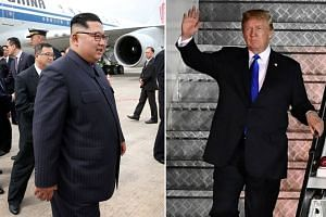 US President Donald Trump (right) and North Korean leader Kim Jong Un arriving in Singapore on June 10, 2018, ahead of their summit.