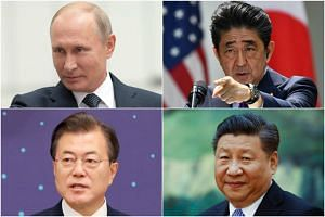 (Clockwise from top left) Russian President Vladimir Putin, Japanese Prime Minister Shinzo Abe, Chinese President Xi Jinping and South Korea's President Moon Jae In, who are jostling for a piece of the action at the Trump-Kim summit.