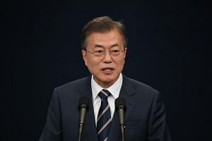 South Korea's President Moon Jae In at the presidential Blue House in Seoul on May 27, 2018.