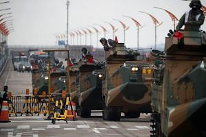 File photo showing amphibious assault vehicles of the South Korean Marine Corps participating in a joint military exercise with the US in Pohang, South Korea, on April 5, 2018.