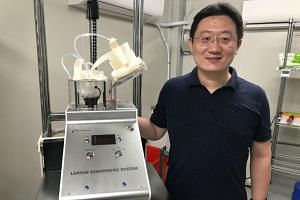 Orinno Technology co-founder, Dr David Du, with the larvae counter, which has been helping with the rearing of male Wolbachia-Aedes mosquitoes.