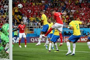 Switzerland's Steven Zuber scores a goal for his country during the match against Brazil, at the Rostov Arena, on June 18, 2018.