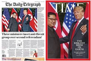 The Straits Times executive photojournalist Kevin Lim's shot of the two leaders meeting in the courtyard of the Capella Singapore hotel on Sentosa last Tuesday was used by The Daily Telegraph (left), The Courier Mail and Time magazine (right).