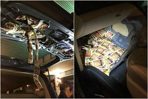 ICA officers found a total of 6,821 sachets of chewing tobacco hidden in modified compartments in the vehicle.