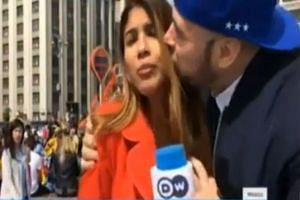 Julieth Gonzalez Theran getting groped by a man as she was doing a broadcast for the 2018 World Cup in Russia.