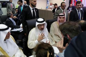 Saudi Arabia's Oil Minister Khalid al-Falih talks to journalists at the beginning of an Opec meeting in Vienna on June 22, 2018.