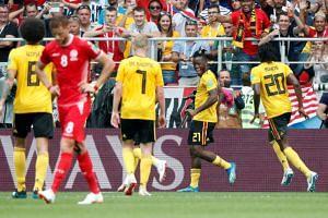 Belgium's Michy Batshuayi celebrates scoring their fifth goal during their match against Tunisia, on June 23, 2018.