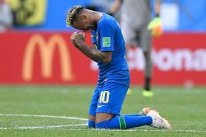 Brazil's Neymar crying after scoring a goal during the World Cup match between Brazil and Costa Rica at the Saint Petersburg Stadium, on June 22, 2018.