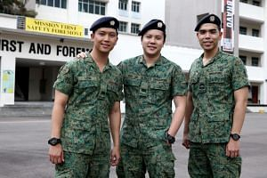 (From left) Lt (NS) Leon Cross, Lt (NS) Andy Lee and Cpl (NS) Enrique Lee from 772 Singapore Infantry Regiment.