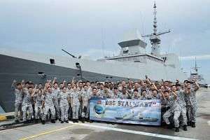 The crew of the RSS Stalwart, which won the Singapore Armed Forces' Best Fleet Unit Award this year.
