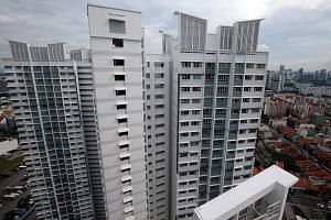 A view of Block 10B Bendemeer Road where the incident took place. The panel looked to be about 1.2m long and 30cm wide. HDB and Jalan Besar Town Council said checks on neighbouring blocks with similar facade features have been conducted as a precauti