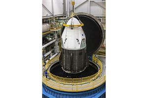 SpaceX's Crew Dragon at Nasa's Plum Brook Station in Ohio, undergoing testing in the In-Space Propulsion Facility.