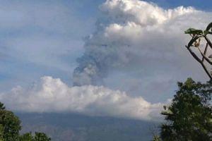 Bali's Mount Agung erupting on June 28, 2018.