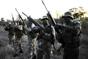 Soldiers from the South African National Defence Force (SANDF) check their weapons before a night patrol exercise againstpoachers along the Mozambique border.