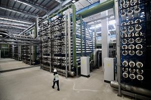 The tubes holding the reverse osmosis membranes in the Tuas Desalination Plant. The facility has more than 14,000 of these membranes, which are the final filters that sea water is pumped through to remove all impurities.