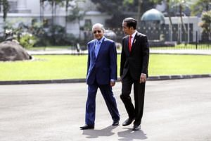 Malaysian Prime Minister Mahathir Mohamad and Indonesian President Joko Widodo at the presidential palace in Bogor on June 29, 2018.