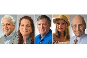 (From left) Rob Hiaasen, Wendi Winters, John McNamara, Rebecca Smith, and Gerald Fischman were killed when a gunman targeted the Capital Gazette newsroom in Annapolis, Maryland, on June 28, 2018.