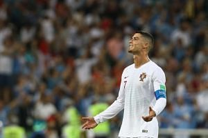 Cristiano Ronaldo of Portugal reacts during the Fifa World Cup 2018 round of 16 football match between Uruguay and Portugal.