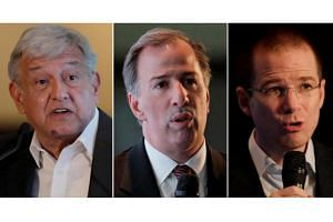 Mexican presidential candidates (from left) Andres Manuel Lopez Obrador, Jose Antonio Meade and Ricardo Anaya.