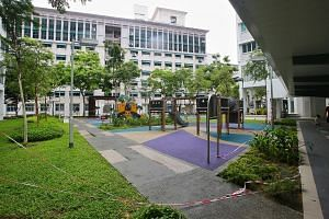 A decorative panel fell from the top of Block 10B (right, background) in Bendemeer Road and landed near this playground on June 23. The Build-To-Order block was completed in 2016.