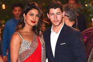 Indian actress Priyanka Chopra and American singer Nick Jonas arriving last week at a pre-engagement party.