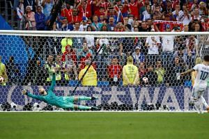 Russia's Fyodor Smolov scores a penalty during the shootout at the Luzhniki Stadium, Moscow, Russia, on July 1, 2018.